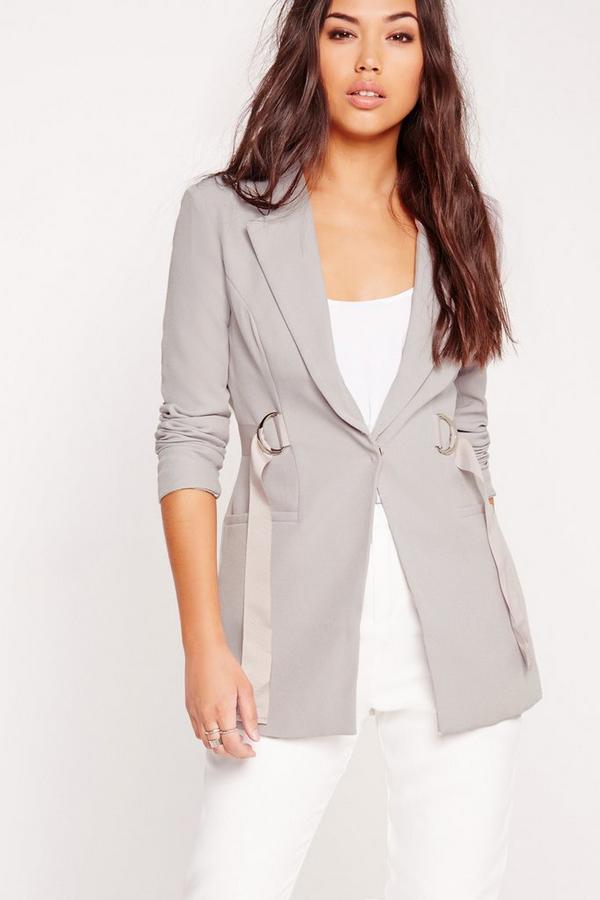 D-Ring Waist Tailored Blazer Grey