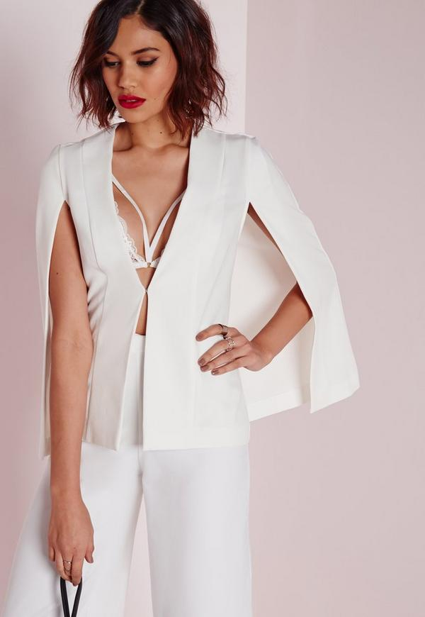 Structured Cape Blazer white