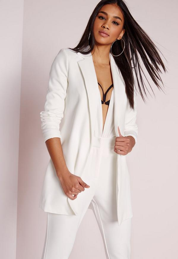 longline blazer white missguided. Black Bedroom Furniture Sets. Home Design Ideas