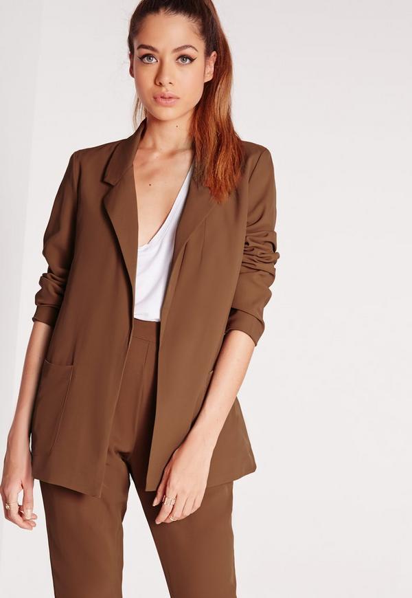 Boyfriend Tailored Suit Blazer Brown