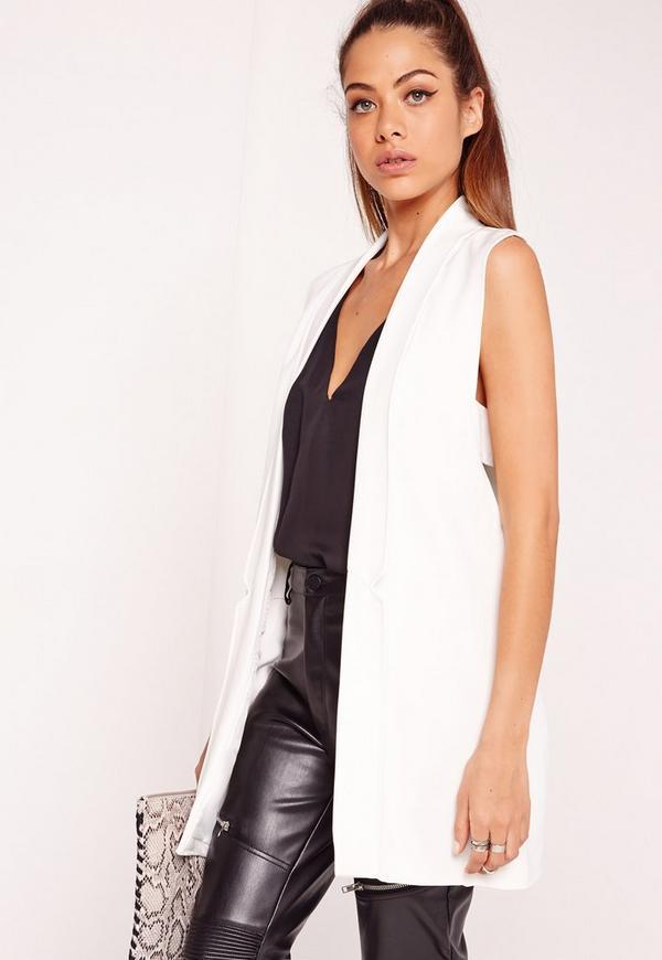 Tab Side Sleeveless Blazer White