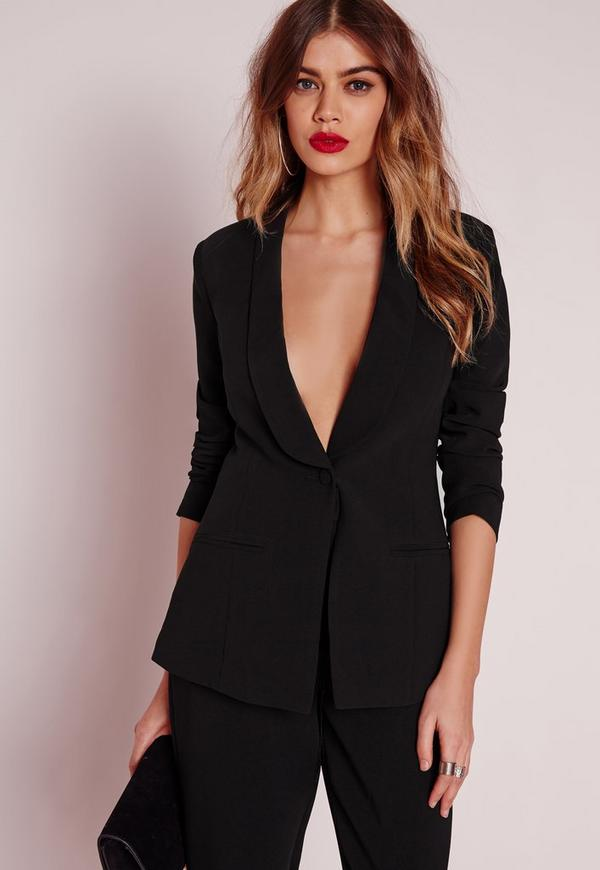 Fitted Tailored Suit Blazer Black Missguided