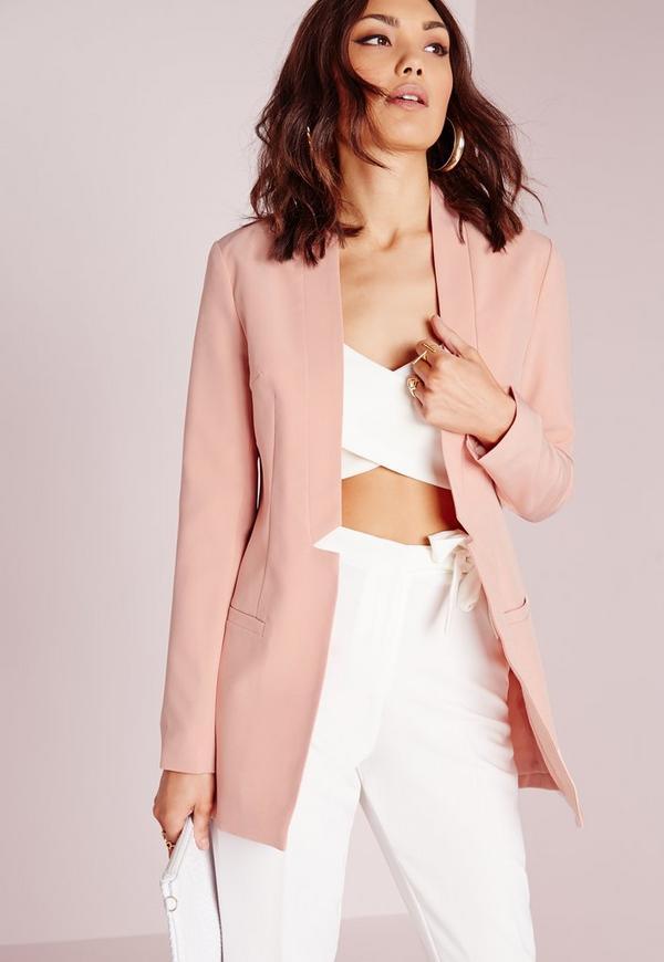 Lapel Detail Longline Blazer Pink