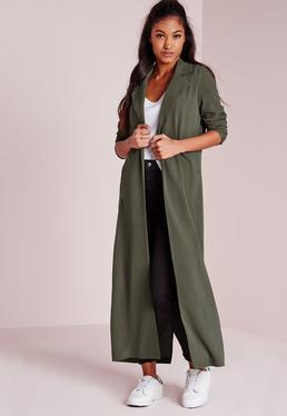 Long Sleeve Maxi Duster Jacket Khaki