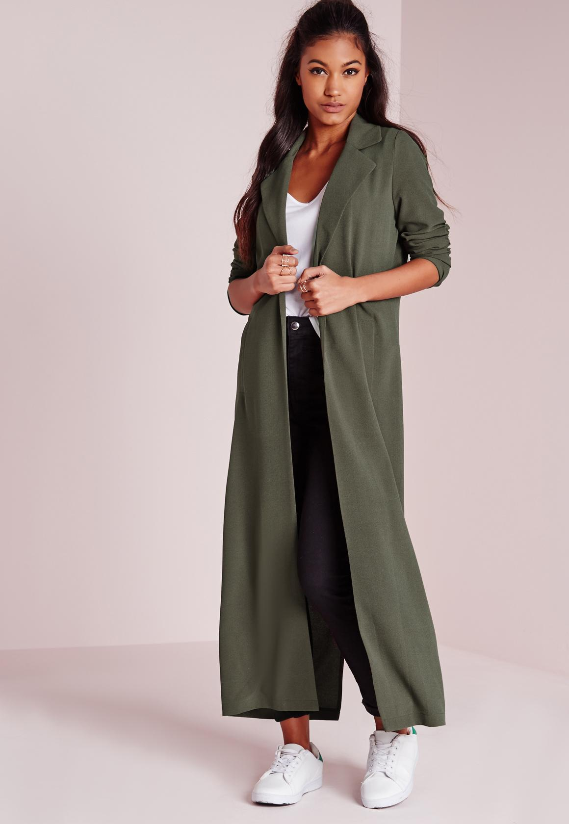 Long Sleeve Maxi Duster Jacket Khaki | Missguided