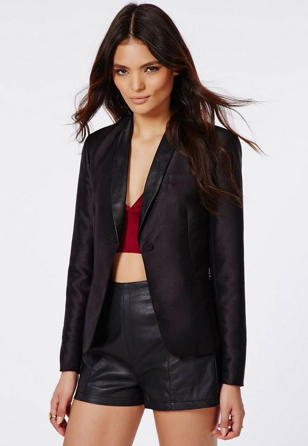 Tabither Faux Leather Lapel Tuxedo Blazer Black