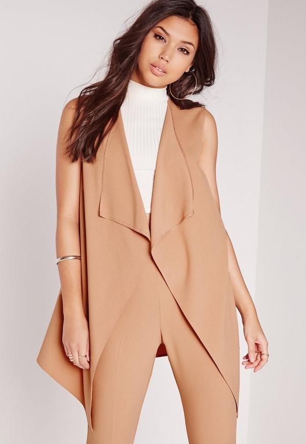 Sleeveless Waterfall Jacket Camel