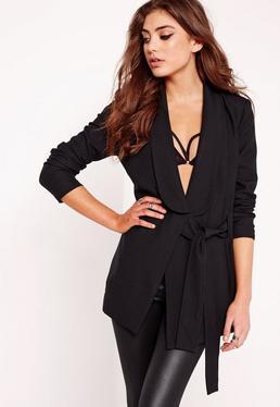 Drape Tie Front Tailored Blazer Black
