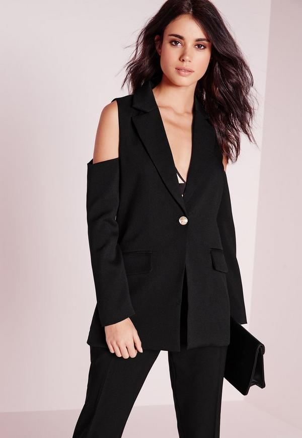 Cold Shoulder Tailored Blazer Black