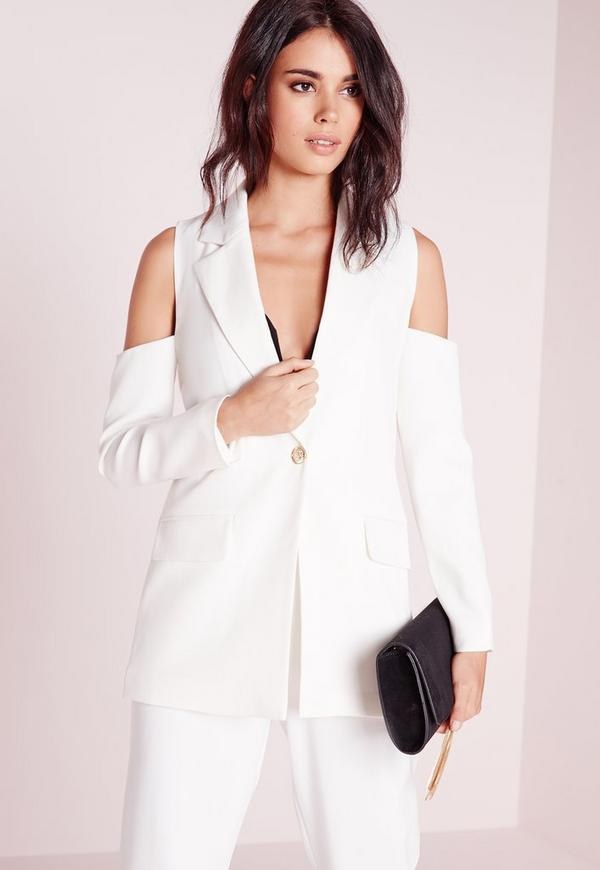 Cold Shoulder Tailored Blazer White