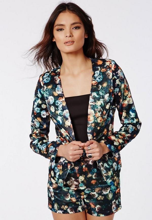 Dark Floral Print Silky Tailored Blazer Navy