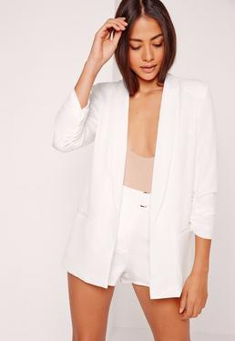 Gathered Sleeve Tailored Blazer Suit White