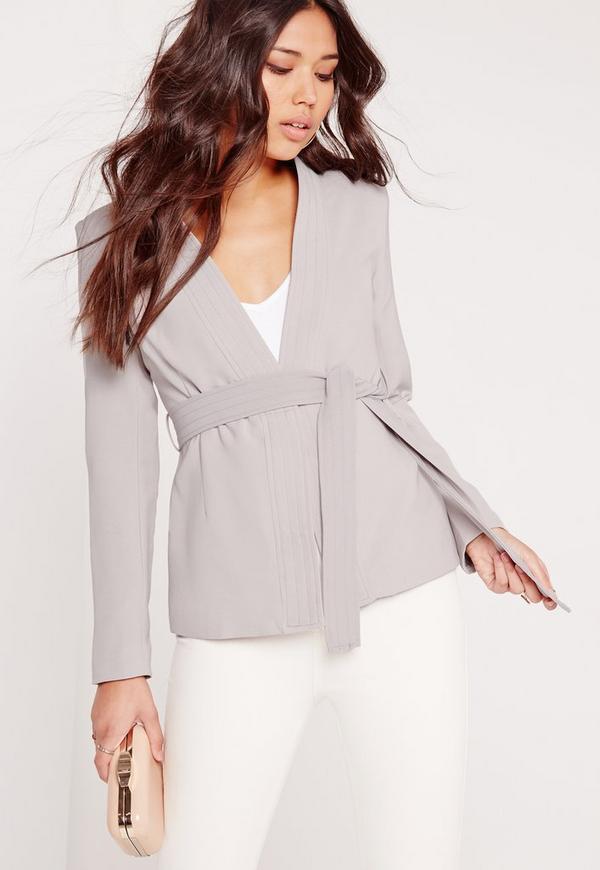Obi Belted Blazer Grey