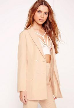 Double Breasted Tailored Blazer Nude