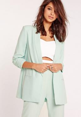 Gathered Sleeve Tailored Blazer Suit Green
