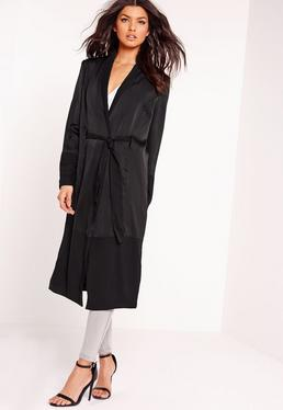 Satin & Chiffon Maxi Duster Jacket Black