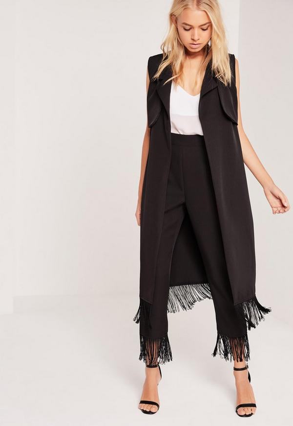Fringe Detail Tailored Sleeveless Duster Jacket Black