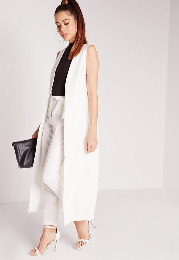 Sleeveless Maxi Duster Coat White