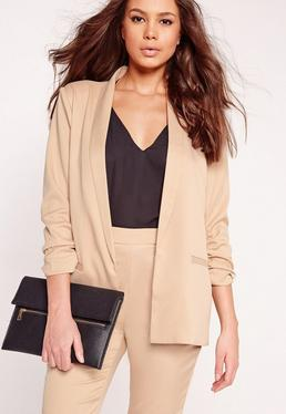 Gathered Sleeve Tailored Blazer Suit Nude