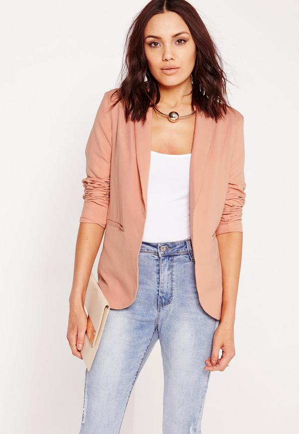 Deep Lapel Tailored Blazer Pink