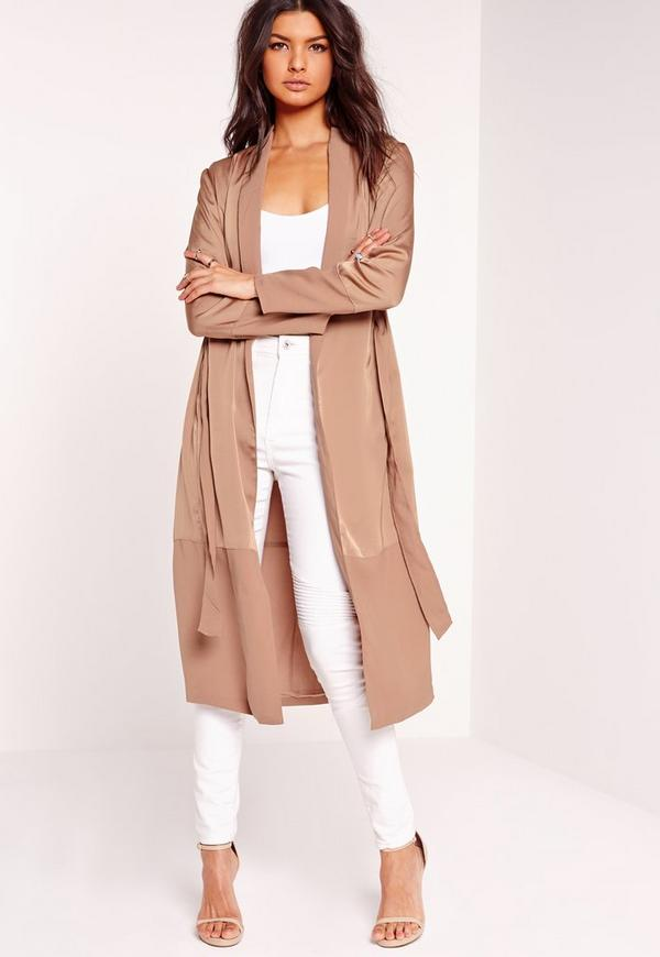 Satin Amp Chiffon Maxi Duster Jacket Camel Missguided
