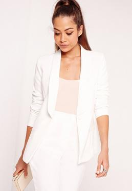 Fitted Tailored Blazer Suit White