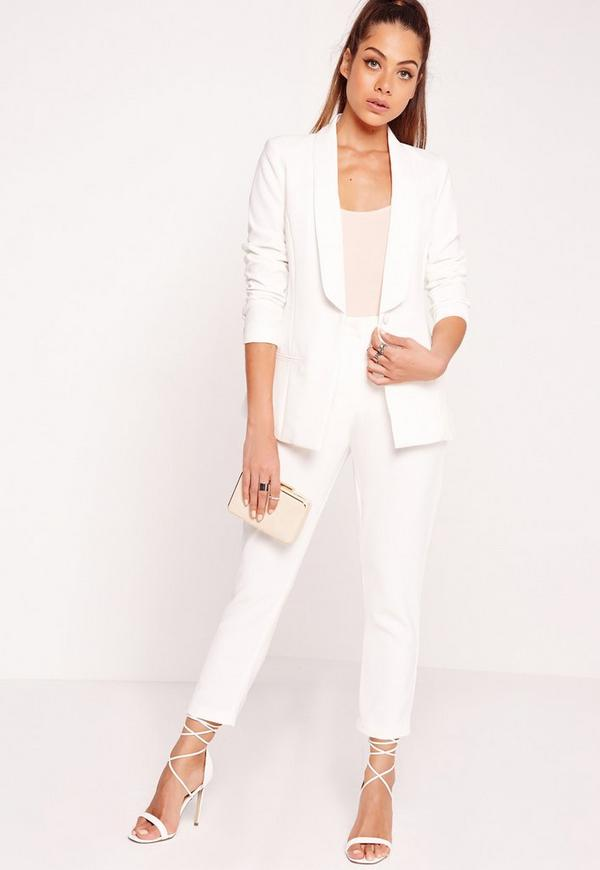 Fitted Tailored Blazer Suit White | Missguided