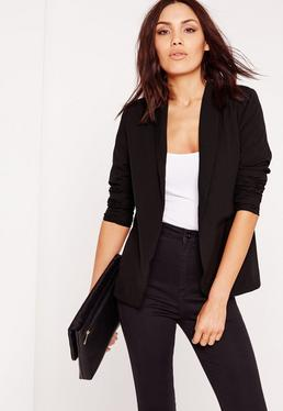 Deep Lapel Tailored Blazer Black