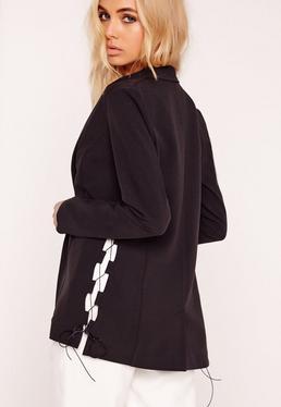 Crepe Lace Up Blazer Black