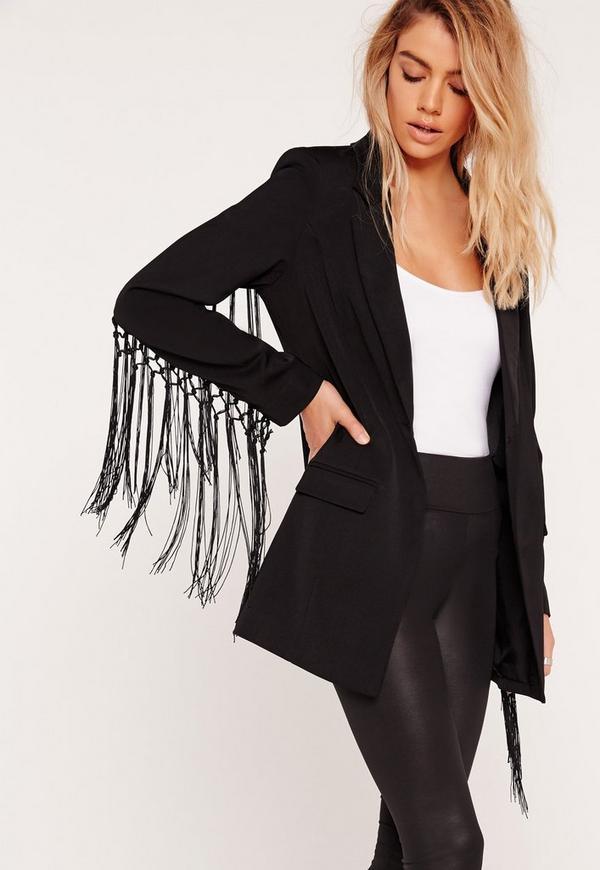 Tassel Sleeve Blazer Black