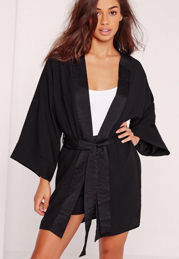 Kimono Sleeve Tie Waist Jacket Black