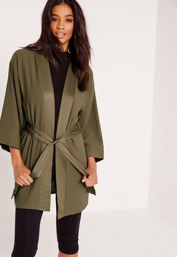 Kimono Sleeve Tie Waist Jacket Khaki