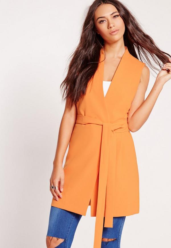 Sleeveless Wrap Over Tailored Jacket Orange