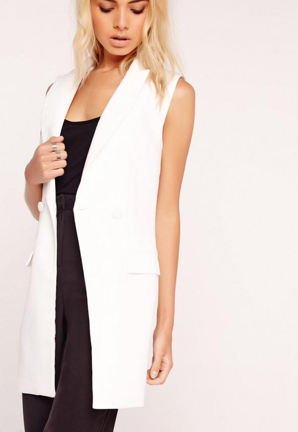 Sleeveless Button Detail Tailored Jacket White
