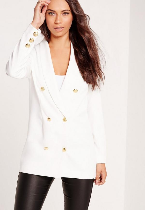 Straight Button Detail Double Breasted Blazer White ...