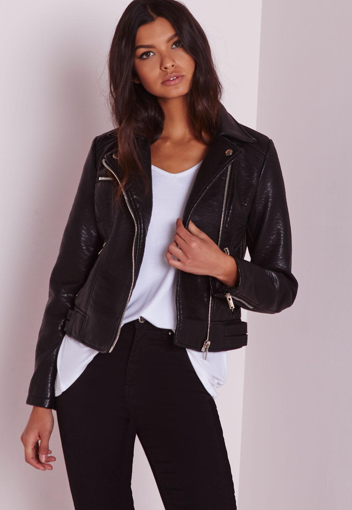 Faux Leather Biker Jacket Black | Missguided