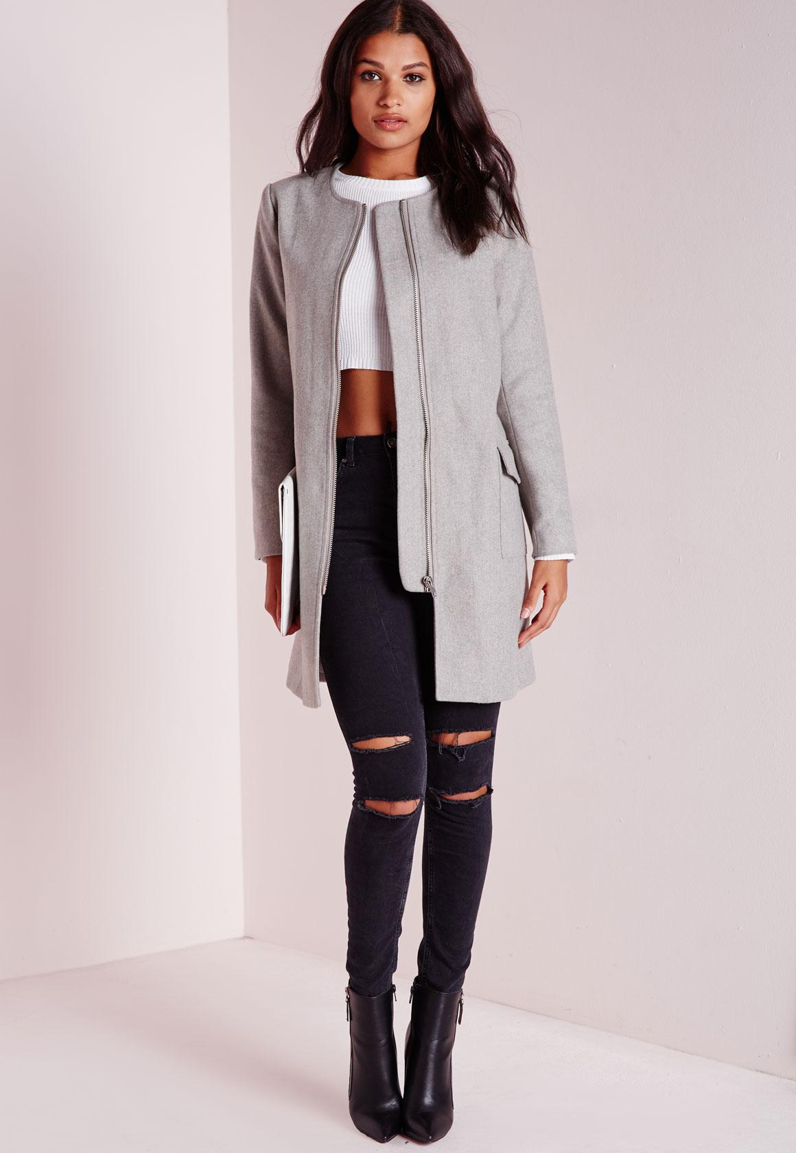 Collarless Zip Detail Faux Wool Jacket Light Grey | Missguided
