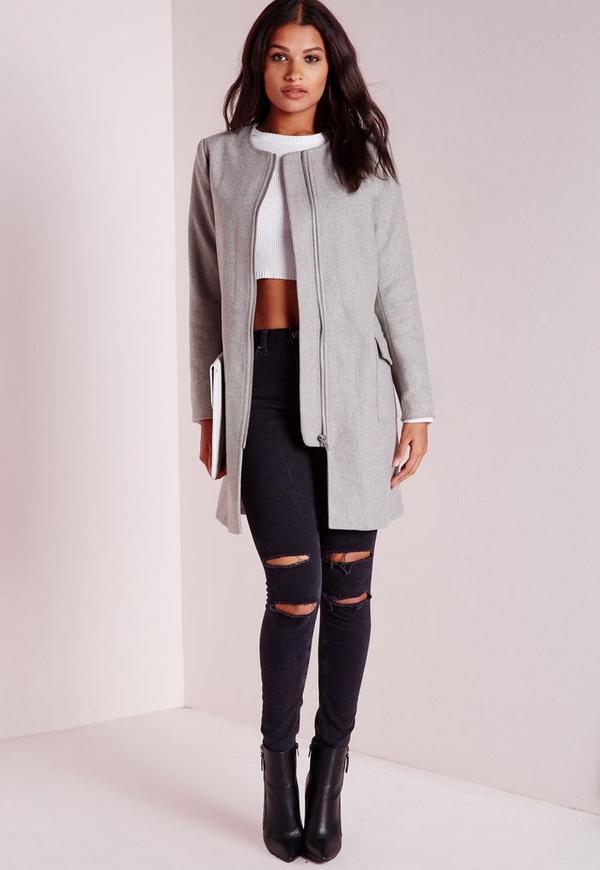 Collarless Zip Detail Faux Wool Jacket Light Grey