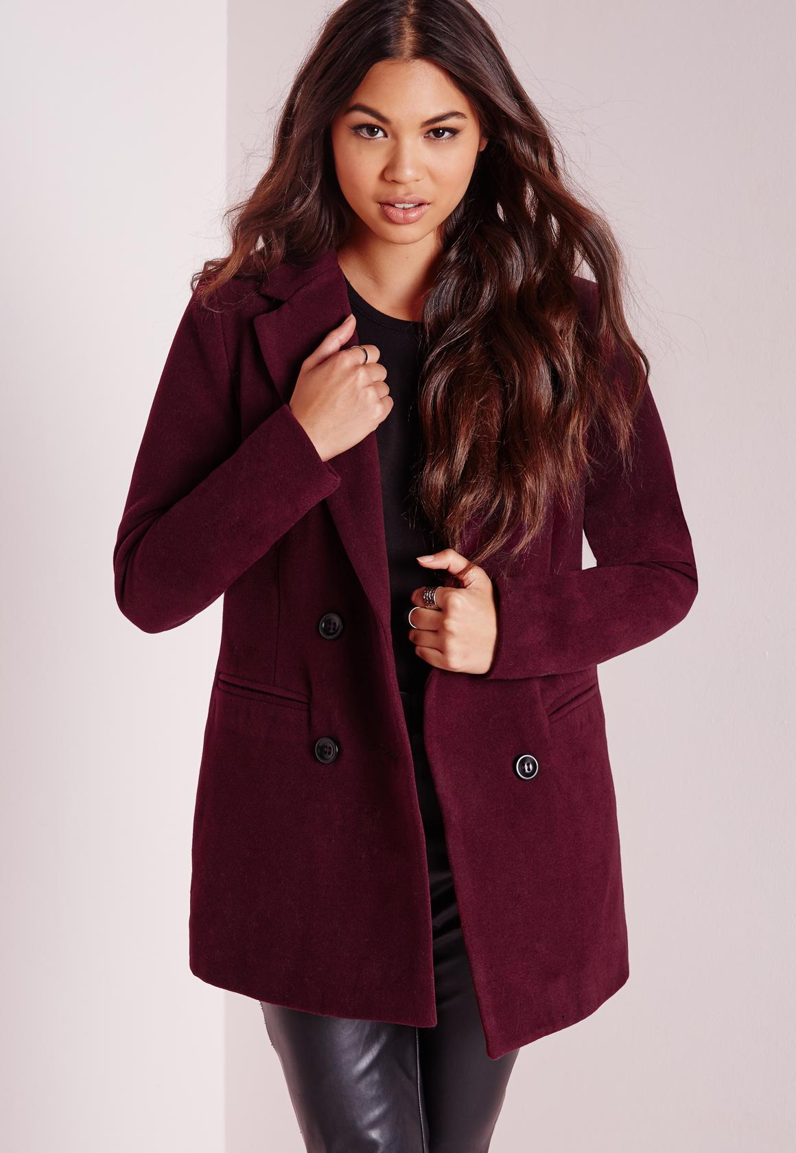 Double Breasted Tailored Wool Coat Burgundy | Missguided