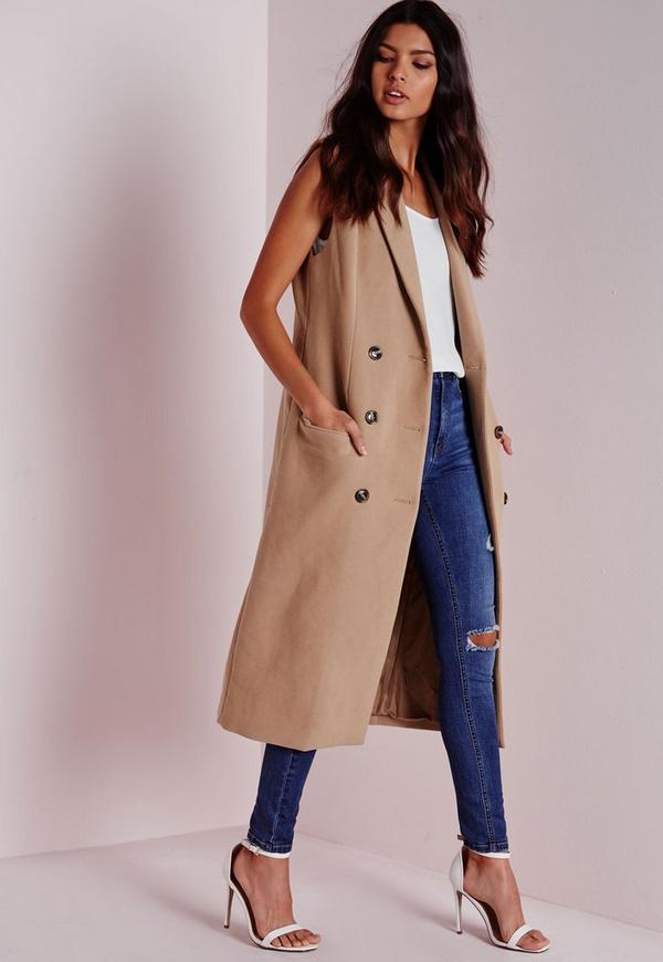 Double Breasted Sleeveless Wool Maxi Coat Camel