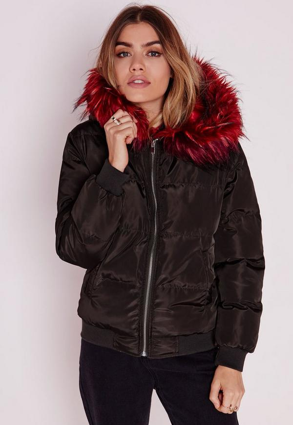 Padded Bomber Jacket with Contrast Fur Hood Khaki