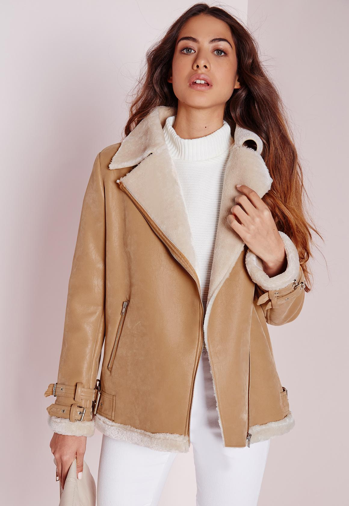Faux Shearling Pilot Jacket Camel | Missguided