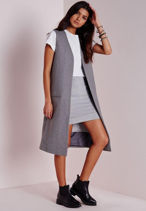 Longline Sleeveless Tailored Wool Blazer Grey