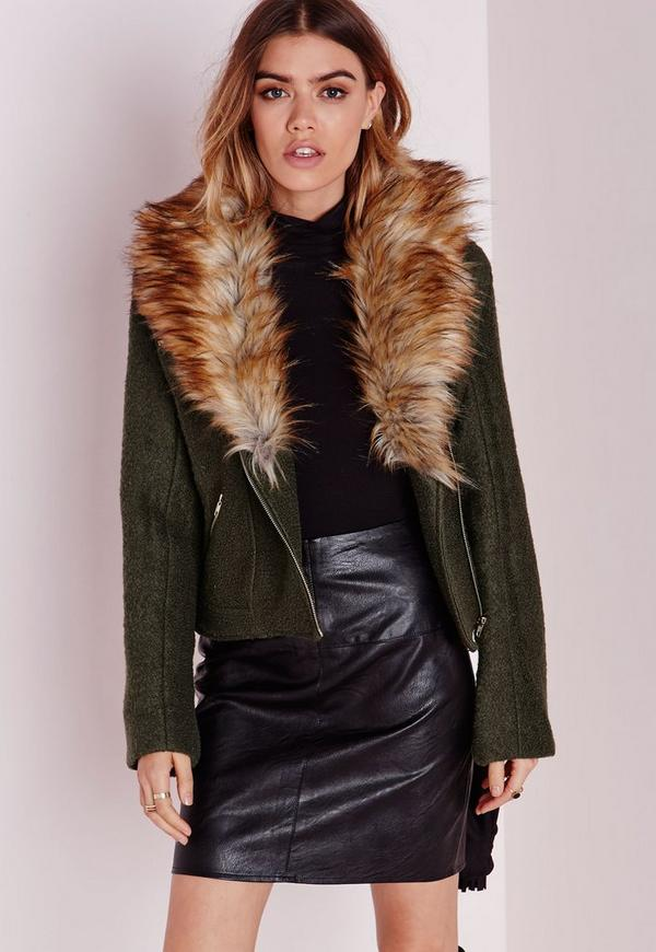 Wool Biker Jacket with Faux Fur Collar Khaki
