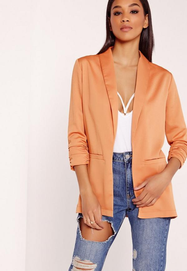 Gathered Sleeve Blazer Camel