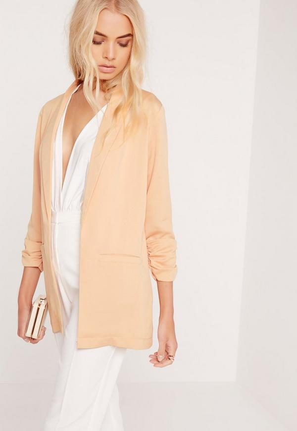 Gathered Sleeve Blazer Nude