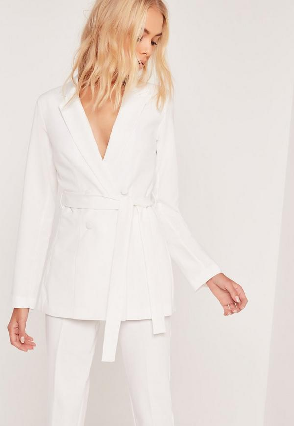 Double Breasted Tie Waist Blazer Cream