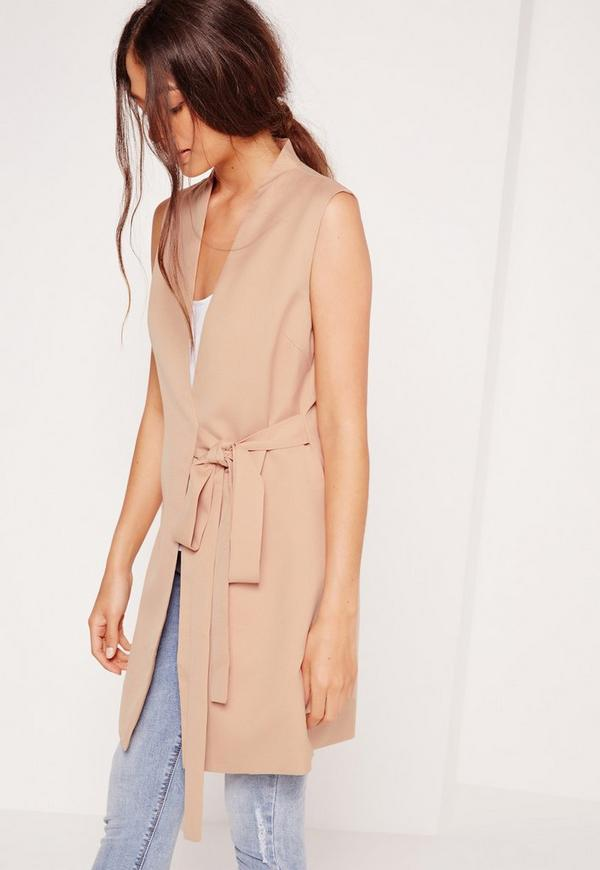 Sleeveless Wrap Over Tailored Jacket Tan