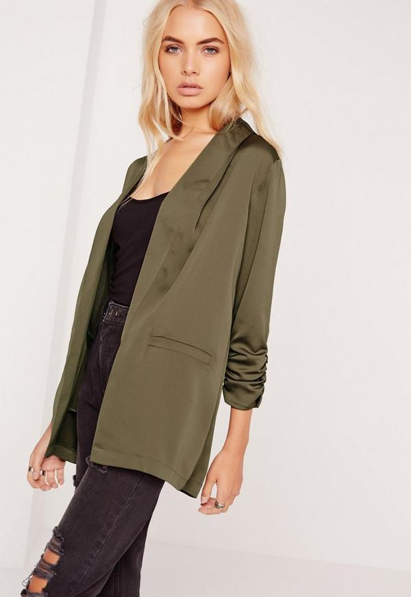 Gathered Sleeve Blazer Khaki