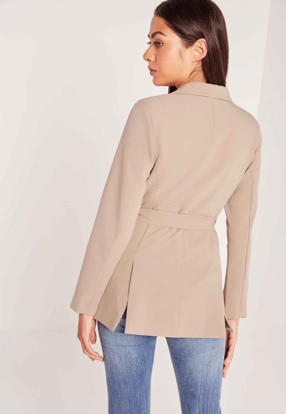Missguided Tie Waist Double Breasted Blazer Cheap Price Top Quality Free Shipping Countdown Package Cheap New Arrival Countdown Package Cheap Online Free Shipping Geniue Stockist pmlwZ3